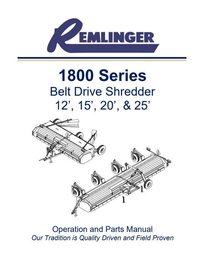 Remlinger 1800 Series Belt Drive Shredder - Operation and Parts Manual Cover