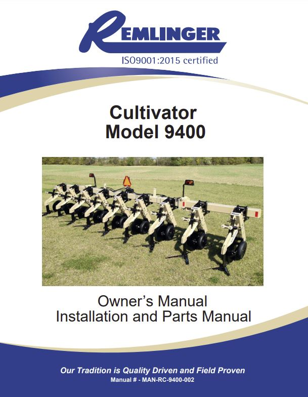 Remlinger Model 9400 Cultivator Manual Cover