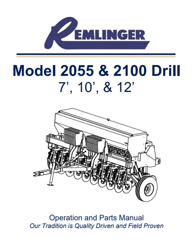 Remlinger Model 2055 & 2100 Drill - Operation and Parts Manual Cover