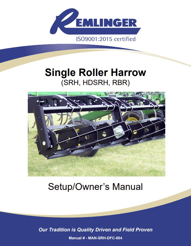 Single Roller Harrow Owners Manual Cover