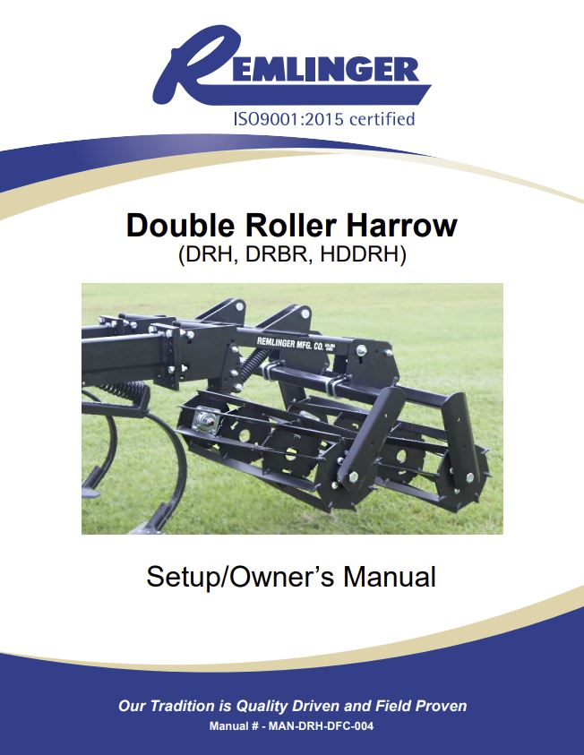 Double Roller Harrow Owners Manual Cover